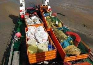 eingesammelter Müll auf dem Landungsboot © Mellumrat e.V./Clemens