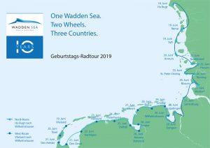Die Karte zeigt die Tagesziele der Weltnaturerbe Wattenmeer Jubiläumsradtour. © CWSS
